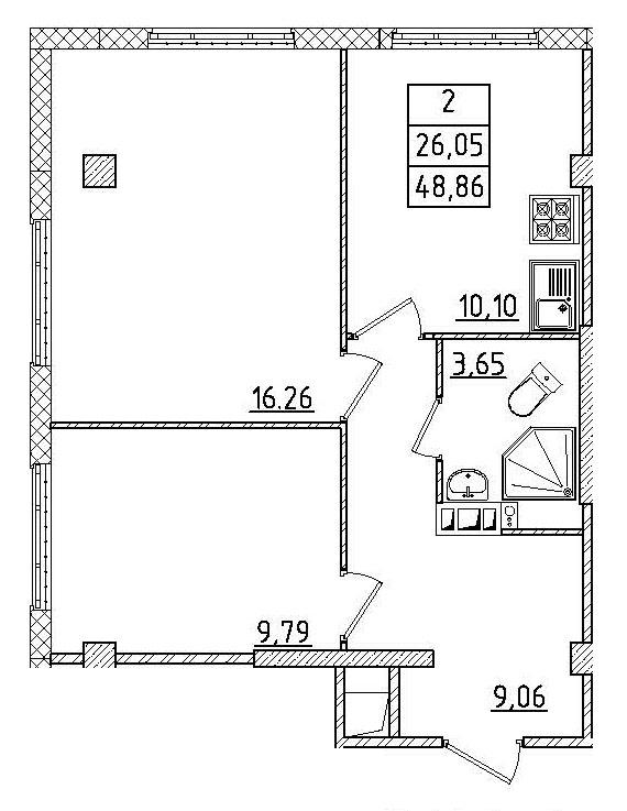 Планировка Двухкомнатная квартира площадью 49.02 кв.м в ЖК «Силы природы»