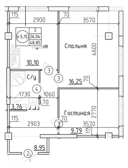 Планировка Двухкомнатная квартира площадью 49.01 кв.м в ЖК «Силы природы»