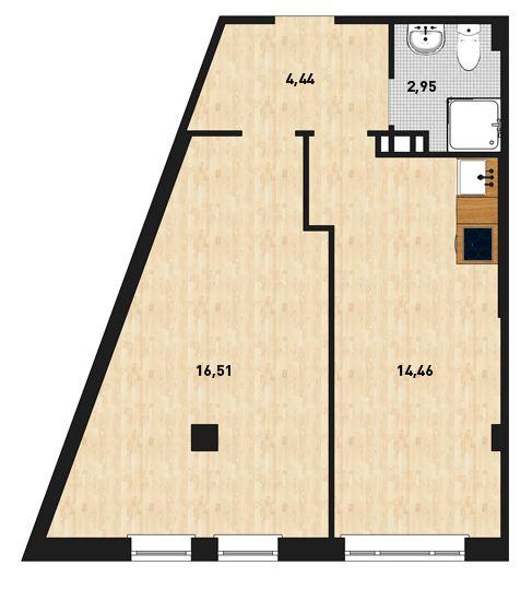 Планировка Однокомнатная квартира площадью 38.48 кв.м в ЖК «Силы природы»