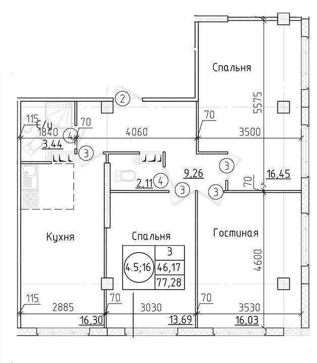 Планировка Трёхкомнатная квартира площадью 79.63 кв.м в ЖК «Силы природы»